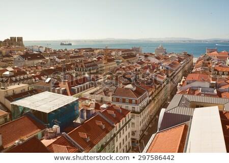 stad · Lissabon · schemering · Portugal · daken · huis - stockfoto © joyr