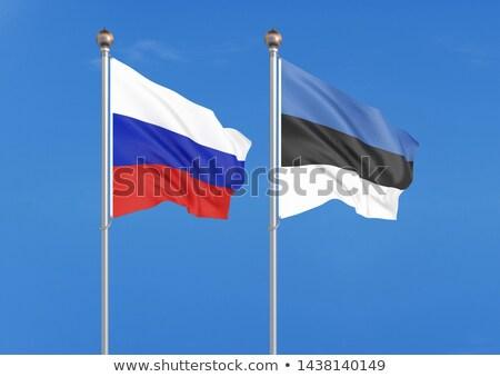 Twee vlaggen Rusland Estland geïsoleerd Stockfoto © MikhailMishchenko