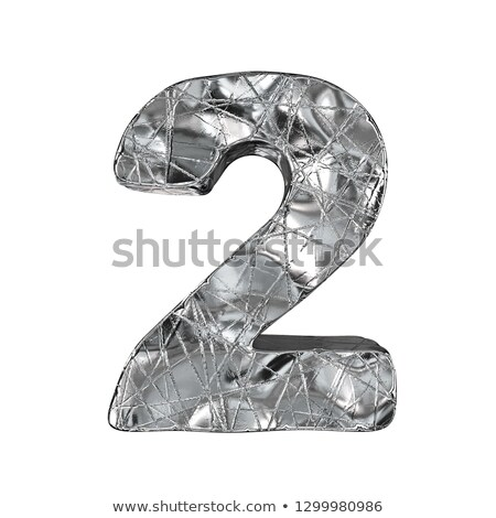 Grunge aluminium foil font number 2 TWO 3D Stock photo © djmilic