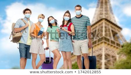 ストックフォト: Friends With Travel Bags Over Eiffel Tower