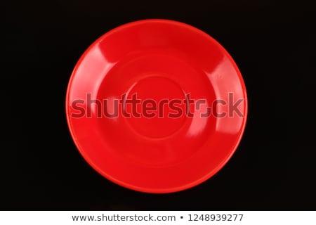 Vuota rosso piatto uno isolato bianco Foto d'archivio © make
