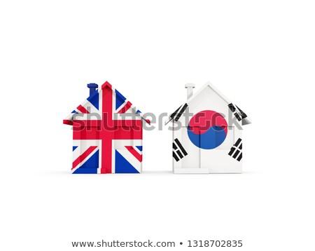 Iki evler bayraklar Büyük Britanya Güney Kore yalıtılmış Stok fotoğraf © MikhailMishchenko