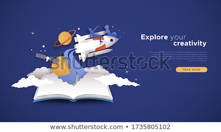 Satellite atterrissage page personnes Photo stock © RAStudio