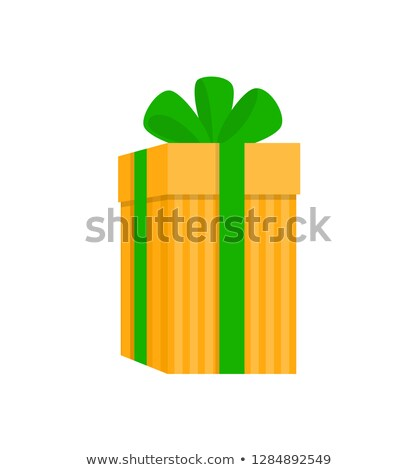 Yellow Extended Gift Box in Stripes Vector Isolated Stock photo © robuart