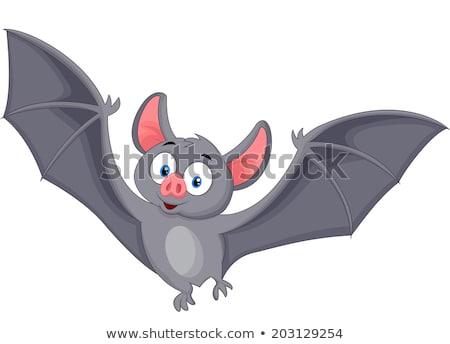 happy vampire bat cartoon character flying stock photo © hittoon