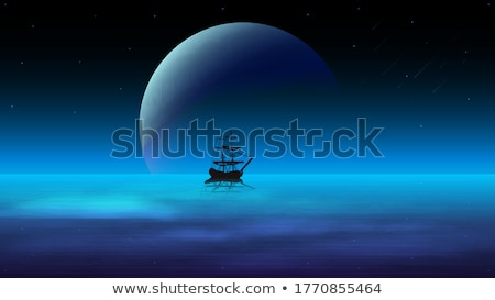 Dark blue water surface at deep sea with a ship on a distant hor Stock photo © boggy