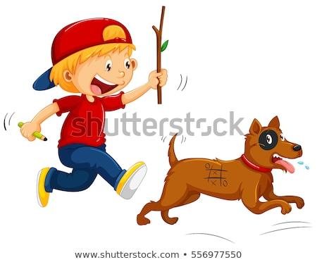 Boy teasing little dog Stock photo © colematt