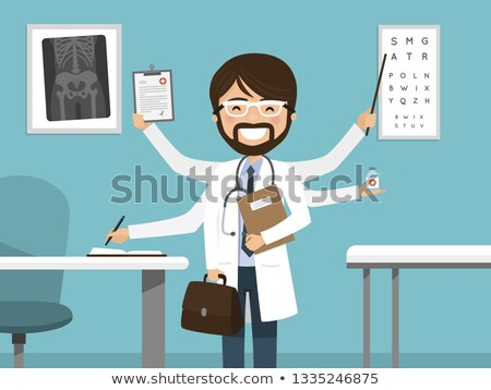 Multitasking busy male doctor smiling. Professional standing in the hospital Stock photo © Imaagio