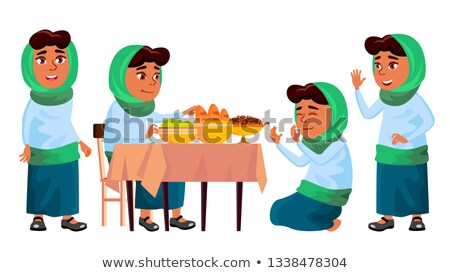 Arab, Muslim Girl Set Vector. Prayer. Religion. Breakfast. Traditional Clothes. For Banner, Flyer, W Stock photo © pikepicture