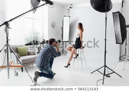Photographer Taking Photo with Camera Sitting Set Stock photo © robuart