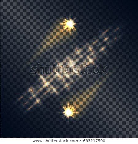 Shooting Stars with Traces and Line of Light Set Stock photo © robuart