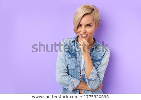 Geschokt jonge vrouw geïsoleerd grijs mobiele telefoon Stockfoto © deandrobot