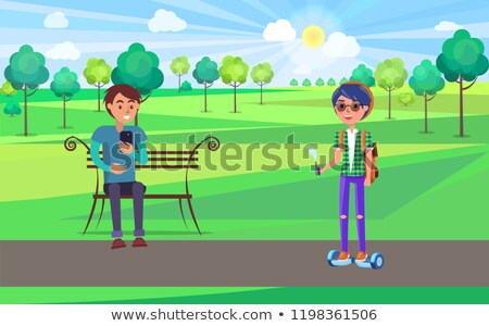 Student Teen Boy on Gyroscooter in Park Vector Stock photo © robuart