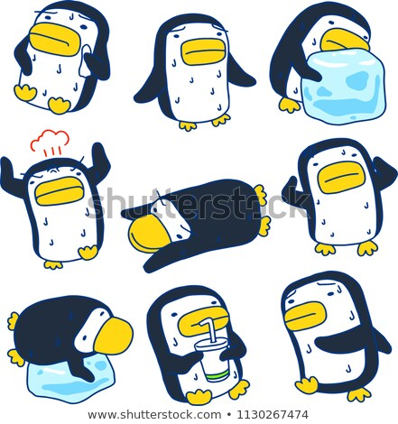 Hot zomer zwarte pinguin ingesteld Stockfoto © Blue_daemon