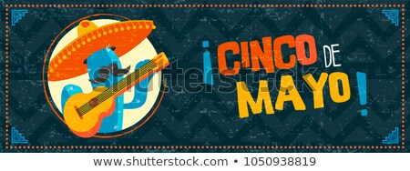 Happy Cinco de Mayo mexican mariachi cactus banner Stock photo © cienpies