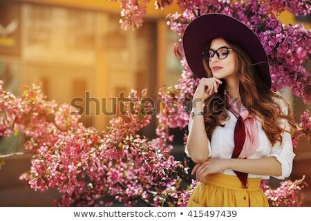 felice · donna · girasole · campo · estate · ragazza - foto d'archivio © elenabatkova