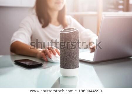 женщину голосом помощник оратора ноутбука домой Сток-фото © AndreyPopov