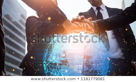 Stock photo: close up of businessman with bitcoin block chain