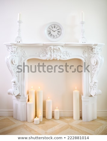 Luxury Brown Fireplace with Decorative Ornaments Stock photo © robuart