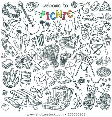 iconos · alimentos · beber · dibujado · a · mano · vector - foto stock © netkov1
