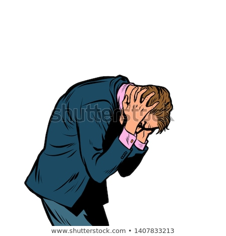 Stockfoto: Severe Headache Man Clasped His Head