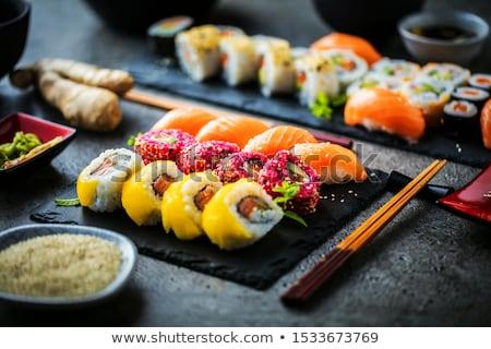 Sushi Set Essstäbchen Stein Bord Meer Stock foto © OleksandrO