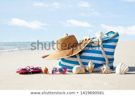 óculos de sol conchas areia praia concha bolsa Foto stock © AndreyPopov