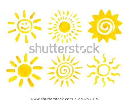 Sarı güneş örnek ayarlamak sevimli ikon Stok fotoğraf © Blue_daemon