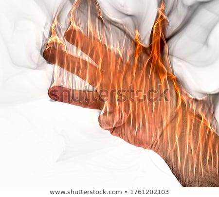 Fighting hands with orange explosion concept Stock photo © ra2studio