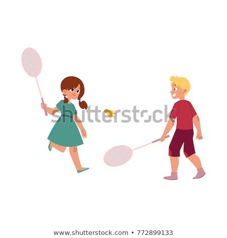 Menina adolescente badminton esportes lazer pessoas sorridente Foto stock © dolgachov