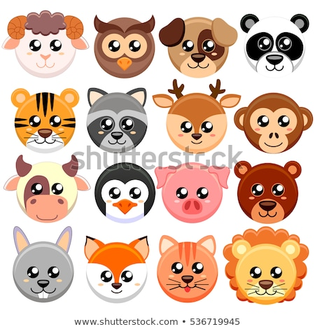 Cartoon Animals Head Circle Set Stock photo © patrimonio