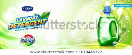 Poder limpar lavanderia detergente acondicionamento bandeira Foto stock © SArts