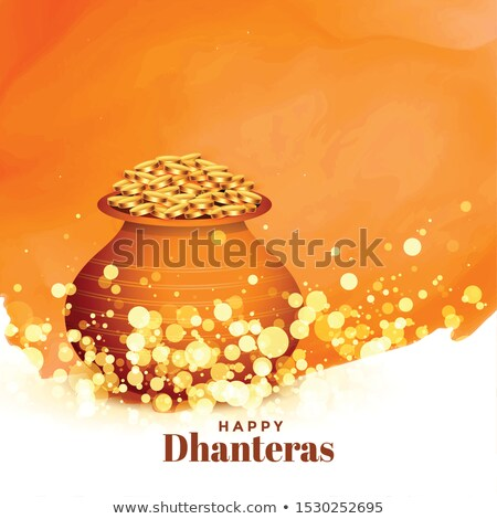 lovely happy dhanteras festival card with gold coin pot Stock photo © SArts