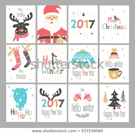Christmas Cartoon Icon Set - Santa Claus Red-Nose Reindeer Snowm Stock photo © nazlisart