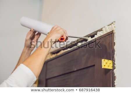 Young handyman installing door with an mounting foam in a room Stock photo © galitskaya