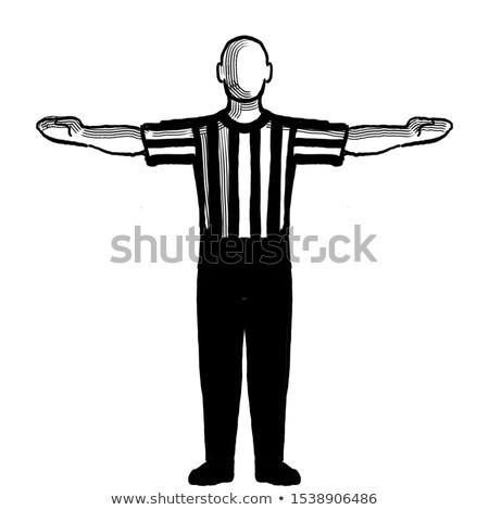 Basketbol hakem el sinyal Retro siyah beyaz Stok fotoğraf © patrimonio