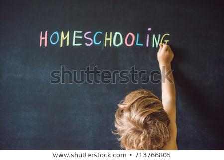Enfant pointant mot tableau noir ordinateur internet Photo stock © galitskaya