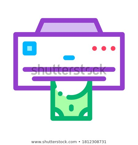 Money Issuing Printer Icon Vector Outline Illustration Stock photo © pikepicture