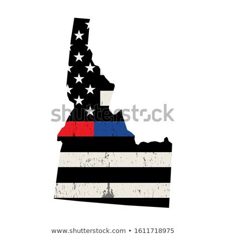 Idaho strażak wsparcia banderą ilustracja amerykańską flagę Zdjęcia stock © enterlinedesign