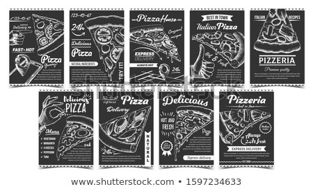 Pizzeria Collection Different Posters Set Vector Stock photo © pikepicture