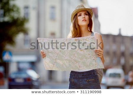 Kobiet Pokaż miasta przewodnik ulicy lata Zdjęcia stock © dolgachov