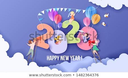 Modernes vecteur origami happy new year carte simple Photo stock © blumer1979