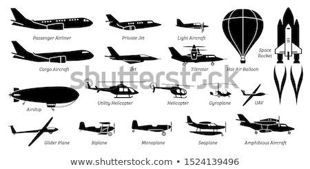 avião · silhuetas · luz · retro · vintage · ar - foto stock © mayboro