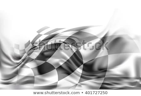 Kockás versenyzés zászló terv bicikli sebesség Stock fotó © SArts