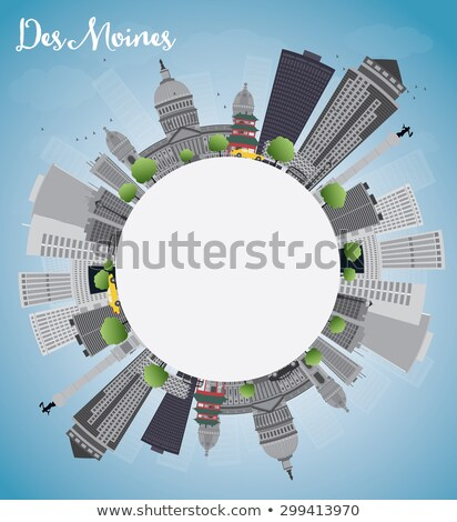 Des Moines Skyline with Grey Buildings and copy space Stock photo © ShustrikS