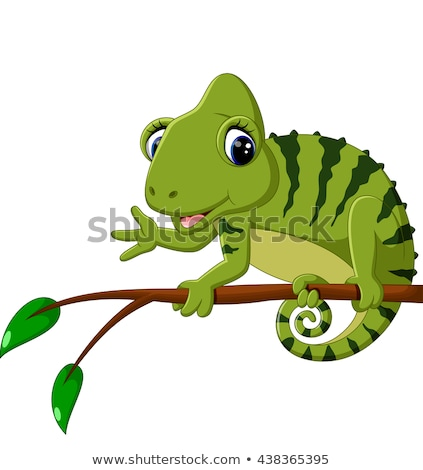 Cartoon kameleon poseren gelukkig kunst groene Stockfoto © tigatelu