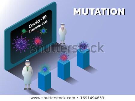 Vector isometric laboratory and scientist with samples of coronavirus Stock photo © tele52