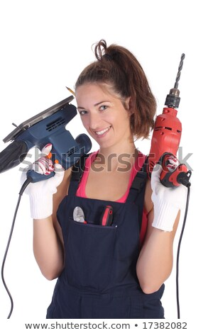 Beauty woman with auger and sander  Stock photo © vladacanon