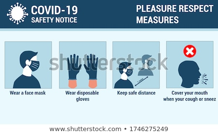 Covid-19 prevention infographic template - people keep safe distance Stock photo © orson