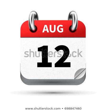Brilhante realista ícone calendário 12 agosto Foto stock © evgeny89